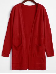 Pocket Design Solid Color Long Open Front Cardigan -