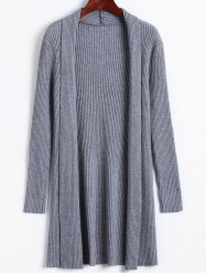 Solid Color Long Open Front Knit Cardigan -
