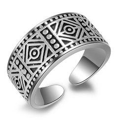 Vintage Carved Geometric Cuff Ring - SILVER