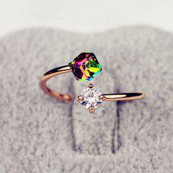 Fake Gemstone Geometric Cuff Ring -