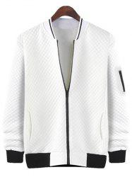 Rhombus Pattern Stand Collar Zip Up Jacket