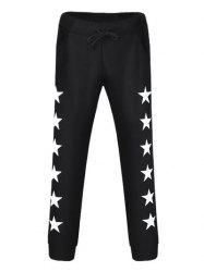 Drawstring Star Printed Jogger Pants - BLACK 38