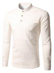 Half Button Cream Long Sleeve T-Shirt - WHITE