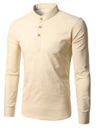 Half Button Cream Long Sleeve T-Shirt - BEIGE 2XL