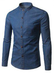 Long Sleeve Pocket Denim Fitted Shirt - DEEP BLUE 3XL