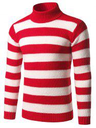Slim Fit Roll Neck Striped Sweater - RED