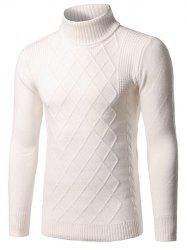 Slim Fit Roll Neck Rhombus Pattern Sweater - WHITE