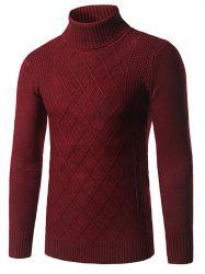 Slim Fit Roll Neck Rhombus Pattern Sweater