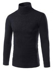 Slim Fit Roll Neck Pullover Sweater - BLACK