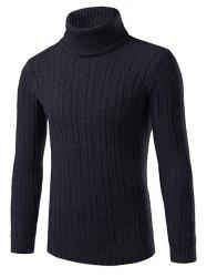 Slim Fit Roll Neck Cable Knitted  Sweater