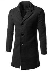 Slim Fit Single Breasted Lapel Wool Mix Coat -