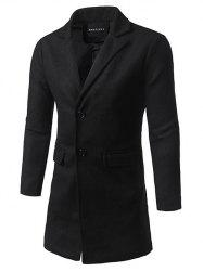Flap Pocket Lapel Tweed Wool Blend Coat - BLACK