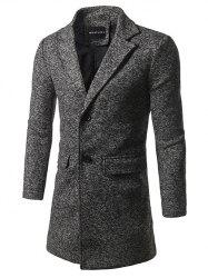Flap Pocket Lapel Tweed Wool Blend Coat -