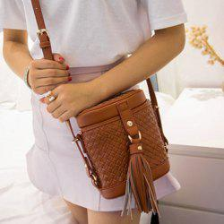 Tassels Weave Cylinder Shape Crossbody Bag