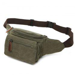 Canvas Colour Spliced Zippers Waist Bag