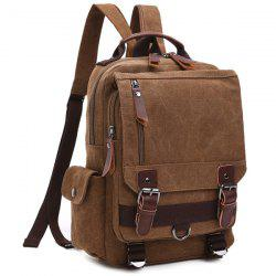 Double Buckle Pocket Zippers Backpack - COFFEE