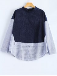 Plus Size Patchwork Stripe Print High-Low Hem Blouse - DEEP BLUE XL