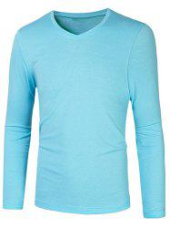 Slim Fit V Neck Long Sleeve T-Shirt - AZURE 2XL