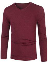 Plain V Neck Long Sleeve T-Shirt