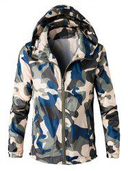 Zip Up Hooded Camouflage Lightweight Jacket -