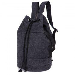 String Zippers Canvas Backpack - BLACK