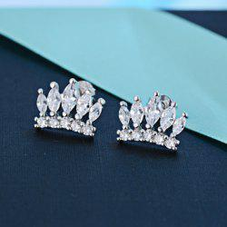 Rhinestone Crown Stud Earrings - SILVER