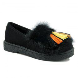 Colored Tassel Faux Fur Suede Flat Shoes - BLACK
