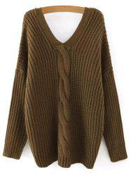 V Neck Cable Knit Sweater with Back Buttons