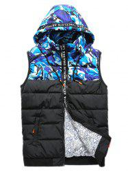 Zip Up Camo Panel Hooded Vest - BLUE 2XL