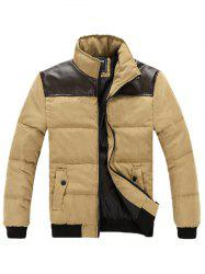 Stand Collar PU Spliced Padded Jacket -