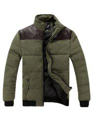 Stand Collar PU Spliced Padded Jacket - ARMY GREEN L