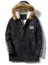 Patch Design Zip Up Fur Hooded Coat - BLACK