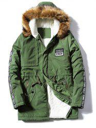 Patch Design Zip Up Fur Hooded Coat -