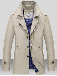 Turndown Collar Single Breasted Epaulet Wind Coat - LIGHT KHAKI 3XL