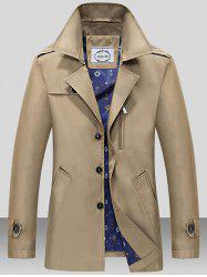 Turndown Collar Single Breasted Epaulet Wind Coat - DARK KHAKI