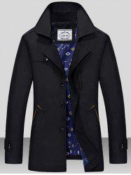Turndown Collar Single Breasted Epaulet Wind Coat - BLACK