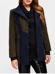 Asymmetrical Color Block Wool Blend Coat - ARMY GREEN