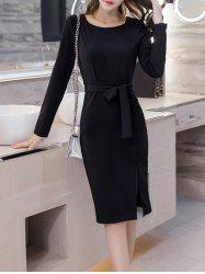 Long Sleeve Midi Bodycon Dress With Belt
