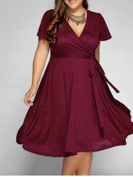 Low Cut A Line Plus Size Surplice Front Tie Swing Dress - WINE RED