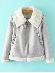 PU Leather Faux Shearling Jacket - GRAY L
