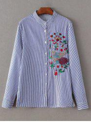 Stand Neck Striped Embroidered Shirt
