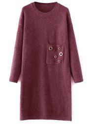 Jewel Neck Sweater Dress with Pocket -