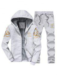 Printed Flocking Hoodie and Drawstring Pants Twinset