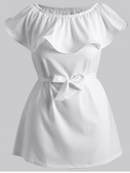 Off The Shoulder Flounce Belted Dress -