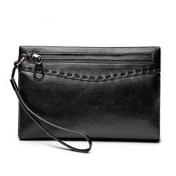 Zipper Stitching Metal Clutch Bag