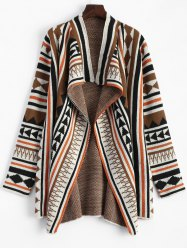 Geometric Pattern Asymmetric Plus Size Cardigan - COLORMIX