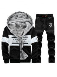 Graphic Flocking Hoodie and Drawstring Pants Twinset