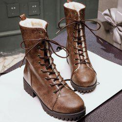 Platform Tie Up PU Leather Short Boots