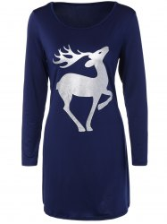 Christmas Deer Patched T-Shirt Dress - CADETBLUE