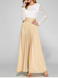 Lace Panel Pleated Long Wedding Guest Dress